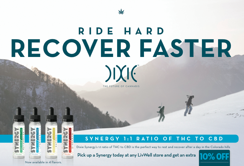 Recover Faster with Dixie Synergy 1:1 ratio of CBD:THC