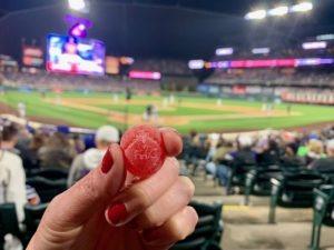 Dixie Sour Smash gummies at a baseball game
