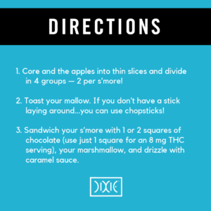 Caramel apple s'more directions with Dixie Chocolate