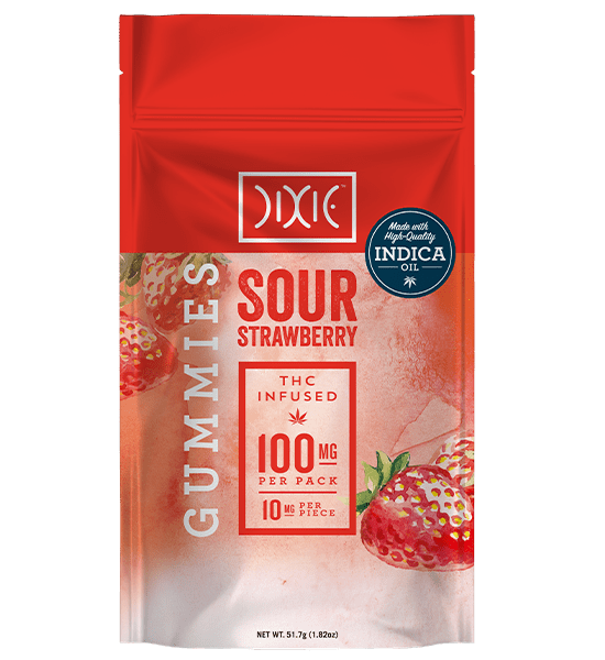 Dixie Sour Strawberry Gummies made with indica oil